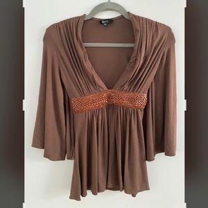 SKY V-Neck Boho Short Sleeve Cute Brown Top